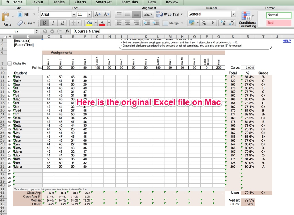 excel mac templates